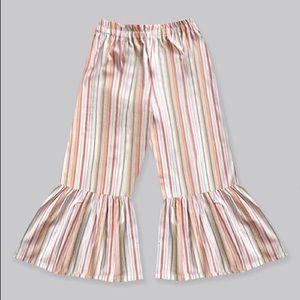 Girls Sunset Pallet Stripe Boho Ruffle Pants